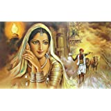 """Dolls Of India """"Rajasthani Beauty Waiting For Her Shepherd Lover"""" Reprint On Paper - Unframed (49.53 X 39.37 Centimeters..."""