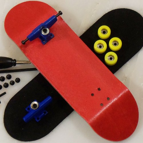 Click To Peoples Republic Red Complete Wooden Fingerboard w Allen Trucks - Basic Bearing Wheels Details