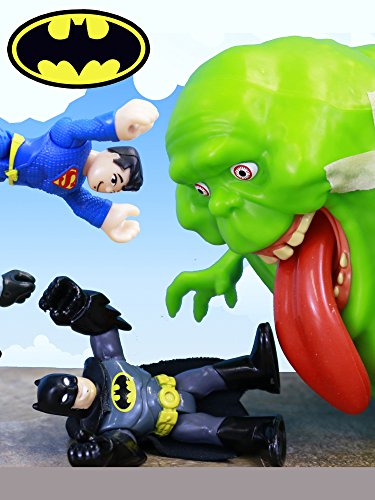 Batman Fights Ghostbusters Slimer with Superman by Lex Luthor with Martian Manhunter and Killer Croc