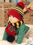 (インスタイルベイビー) InStyle Baby ベビー ニット ボーダー 帽子 マフラー セット ふわもこ手袋付き 星 ボンボン