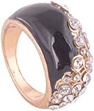 WM Couture Black Metal and Ceramic Rings for Women (Asdqwe10, 17)