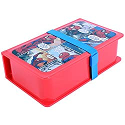 Marvel Spiderman Plastic Lunch Box Set, 730ml, 3-Pieces, Red/Blue
