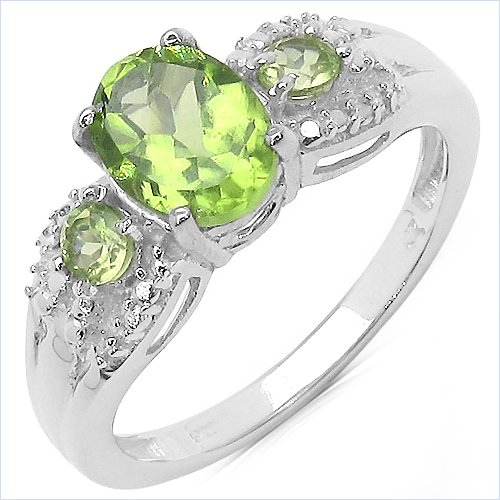 Creative Silver 1.4 Carat Genuine Peridot Sterling Silver Ring