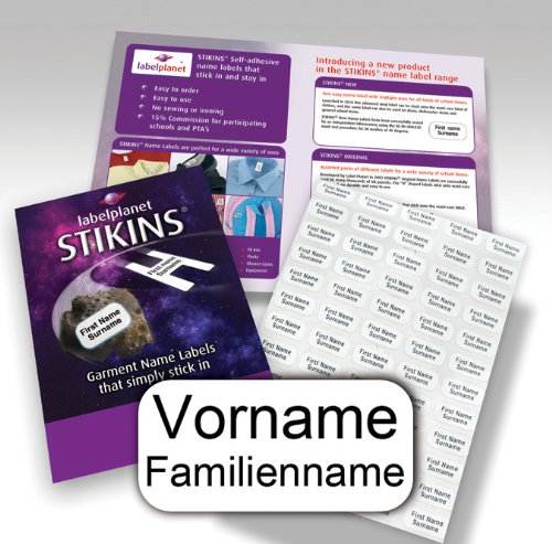90 Personalisierte Wäscheetiketten, STIKINS® Label...