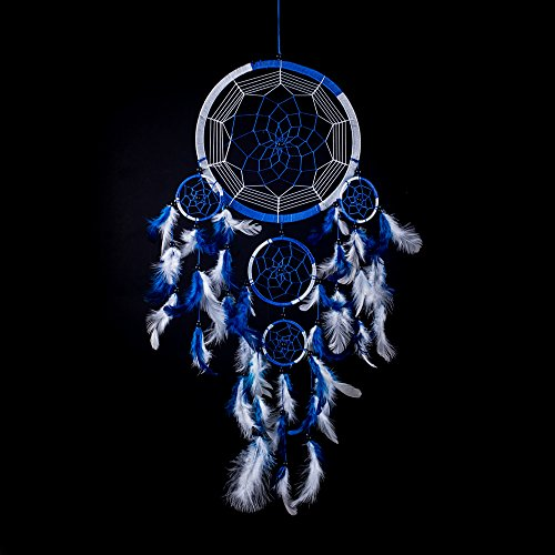 CaughtDreams 24-Inch Long Handmade Dream Catcher , Royal Blue / White