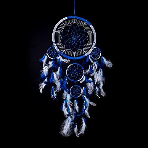 CaughtDreams 24-Inch Long Handmade Dream Catcher , Royal Blue / White