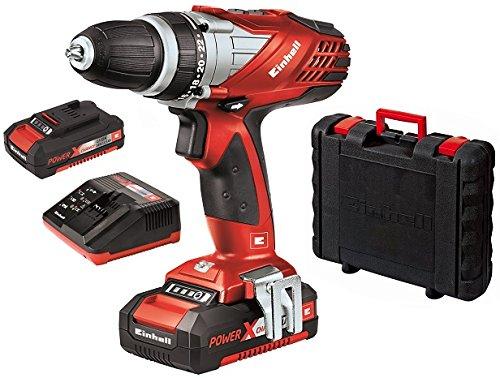 Einhell-Akku-Bohrschrauber-TE-CD-18-Li-Power-X-Change-2x-Lithium-Ionen-Akku-18-V-15-Ah-2-Gang-48-Nm-LED-Licht-Schnellladegert-Koffer