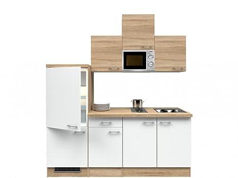 Singlekuche Weiß Sonoma Eiche 210 cm mit Kochmulde und Mikrowelle - Salerno