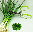 LiviMate Stainless Steel Five-Blade Herb Scissors (Green)