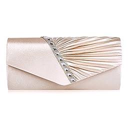 Damara Womens Pleated Crystal-Studded Satin Handbag Evening Clutch (Champagne)