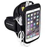 Topist Sports Armband,Running / Workout / Exercise/Sport Sweatproof Armband For iphone 6S plus / 6 plus,Samsung Galaxy S7/S6/S5/S4/Note 4/3/2 and More,Armband with Earphones Holder-Black