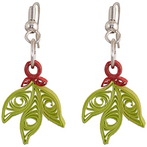 Red Quilling Cart Green And Red Florate Earring (Multicolor)