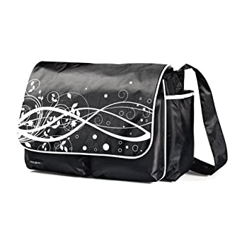Samsonite Unisex-Baby Newborn Messenger Diaper Bag, Black/White, 16