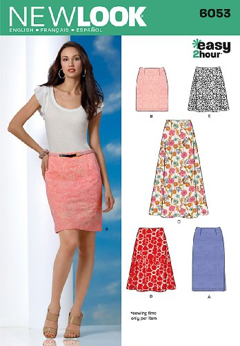 New Look 6053 Misses' Skirts Sewing Pattern, Size A (8-10-12-14-16-18) (New Sewing Patterns compare prices)