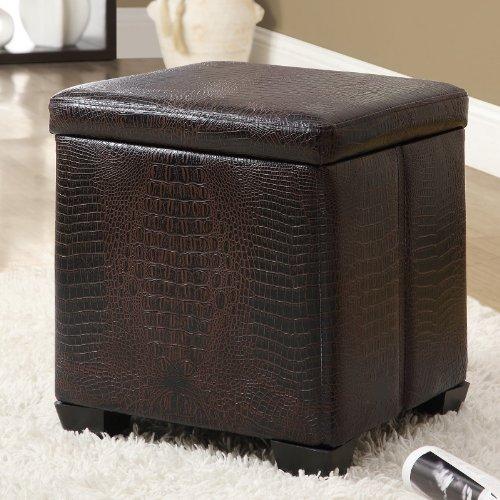 Dark Brown Crocodile Leather-Look Storage Ottoman
