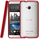 SUPCASE Premium Hybrid Protective Case for HTC One M7 Smartphone (Red/Clear) - Multiple Color Options