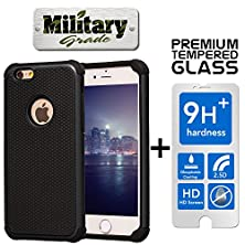 buy Sale Limited Stock,Pack Premium Heavy Duty+Tempered Glass Screen Protector Hybrid Case Iphone 6 6S Shock Absorbent Dirt/Dust/Snow Armor Protection Rubber Plastic Skin Cover Black