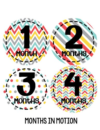Months In Motion 265 Baby Month Stickers For Newborn Boy Red, Yellow Grey Colorful Design front-1077596