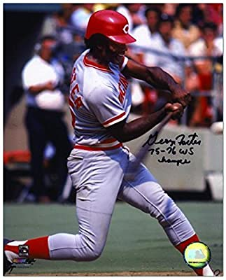 George Foster Cincinnati Reds Autographed 8'' x 10'' Hitting Photograph with 75-76 WS Champs Inscription - Fanatics Authentic Certified