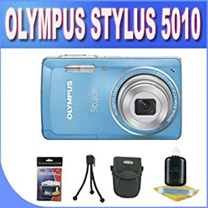 Olympus Stylus 5010 14 MP Digital Camera with 5x Wide Angle Dual Image Stabilized Zoom and 2.7-inch LCD (Blue) + Accessory Kit