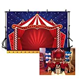 COMOPHOTO Circus Tent Photography Backdrops Glitter Stars Carnival Red Tent Kids Birthday Party Banner Decor Baby Shower Background for Pictures (Color: Style-3, Tamaño: 7ft by 5ft Vinyl)