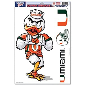 Buy Miami Hurricanes Official NCAA 11x17 Car Window Cling Decal by WinCraft