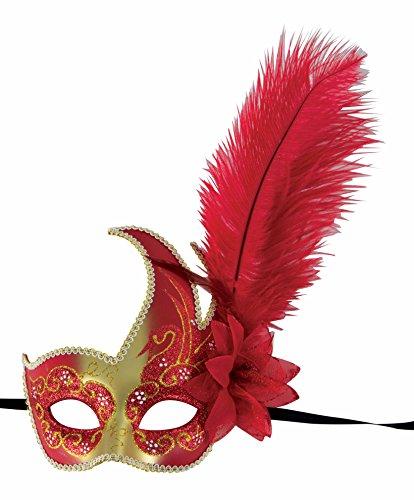 Loup Vénitien plastique toupet plumes Rouge