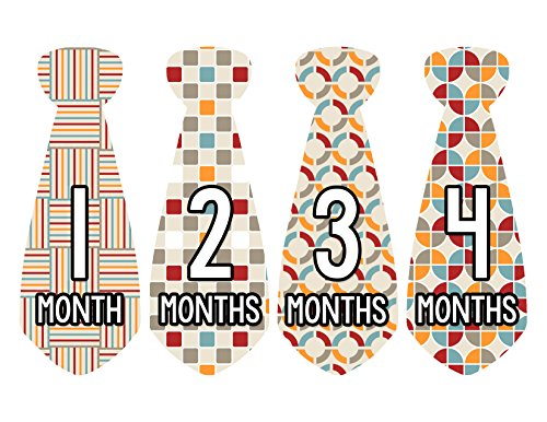 Months in Motion 727 Monthly Baby Stickers Necktie Tie Baby Boy Months 1-12