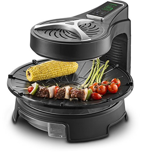 Gourmia GHG1600 Digital Halogen Powered Rotating Grill with LCD Touch Time & Temperature Control Display, Multi Functional, Swing Away Hood for Easy Access, Includes Free Recipe Book