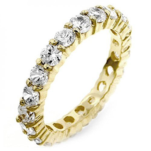 18K Gold Plated To .925 Sterling Silver Engagement Ring Polished Into A Lustrous Goldtone Finish