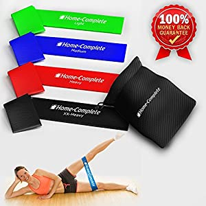 Best Durability 4 Exercise Bands/ Resistance Loop Bands / Fitness Bands /Leg Resistance Bands/ Stretch Bands ★100% Natural Eco-Friendly Elastic Latex Band ★ The Perfect Band for Yoga Pilates Physical Therapy Exercises ★ Carrying Case★ 100% Risk-Free Lifetime Money Back Guarantee
