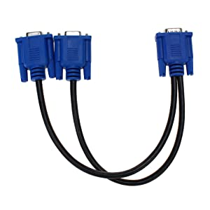 SAYTAY VGA Monitor Y-Splitter Cable,VGA 1 Male to Dual 2 VGA Female Adapter Converter Video Cable for Screen Duplication - 1 Foot(Blue) (Color: Blue, Tamaño: 1 feet)