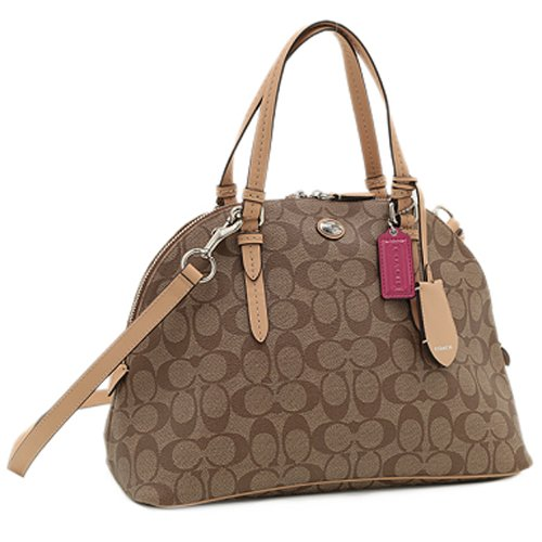 Coach 26184 Peyton Signature Domed Cora Satchel - Khaki & Tan