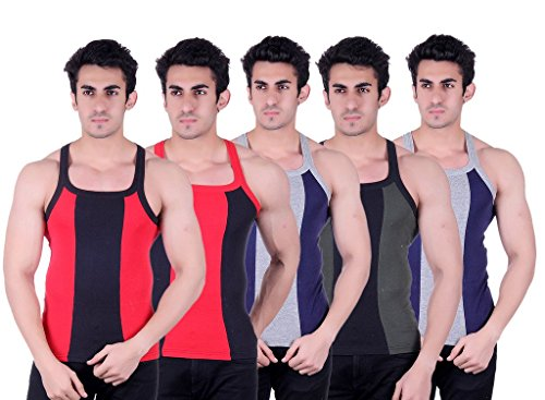 Zimfit Superb Gym Vests - Pack of 5 (RED_BLK_BLU_GRN_BLU_90)