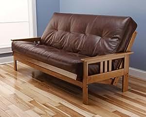 Andover full size futon sofa bed honey oak wood frame for Sofa bed amazon uk
