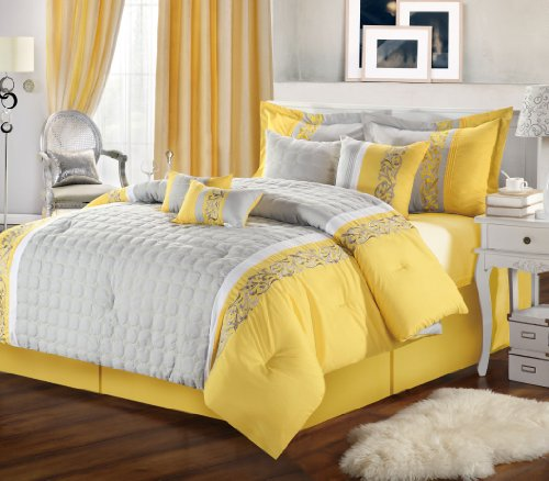 12 Pcs Glendale Yellow & Grey Comforter Bed In A Bag With White Sheet Set Queen Size front-986013