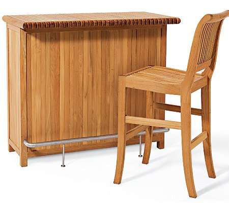 Grade-A Teak Wood 3 Piece Bar Set - Bar Cabinet With 2 Bar Armless Chairs
