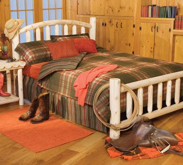 """82"""" Handcrafted Cedar Log Style Arched Wooden Queen Bed Frame"""