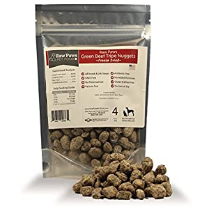 Raw Paws Freeze Dried Green Beef Tripe Nuggets for Dogs & Cats, 4 oz - Made in the USA, No Preservatives, Antibiotics, Hormones & Grain-Free