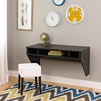 Prepac Wall Mounted Designer Floating Desk in Washed Ebony