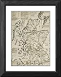Framed Print of A commercial map of Scotland with the roads, stages and distances from National Maritime Museum