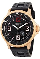 Ritmo Mundo Men's 313 RG Carbon Hercules Titanium Automatic Black Dial Watch