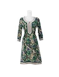 Aruna Singh Off White And Dark Green Print Mid Length Cotton Kurta For Women