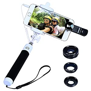 buy apexel mini foldable wired built in remote shutter selfie stick monopod 3 in 1 fisheye. Black Bedroom Furniture Sets. Home Design Ideas