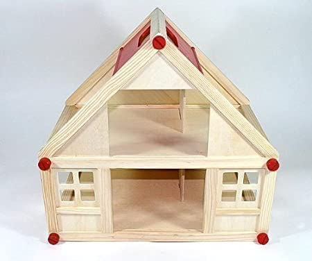 Freda - Dolls House - Made Of Wood - 2 Floors - With Carry Handle - 40 x 25 x 38 cm
