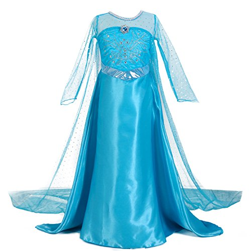 Kids New Elsa Halloween Costume with Cape