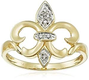 14k Yellow Gold Fleur-de-Lis Diamond Ring (.03 ct, I-J Color, I2-I3 Clarity), Size 6