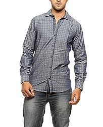 Groove Men Cotton Blue Casual Shirt (Large)
