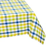 "Mahogany ""Brunch"" Blue and Yellow Check Tablecloth, 60-inch by 120-inch Rectangle, 100% Cotton"