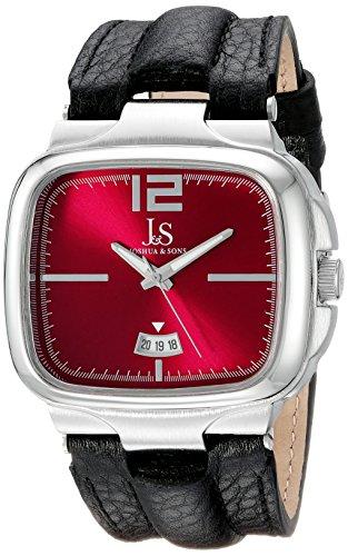 Joshua & Sons Reloj de cuarzo para hombre, con esfera analógica pantalla y correa de piel color marrón jx117rd